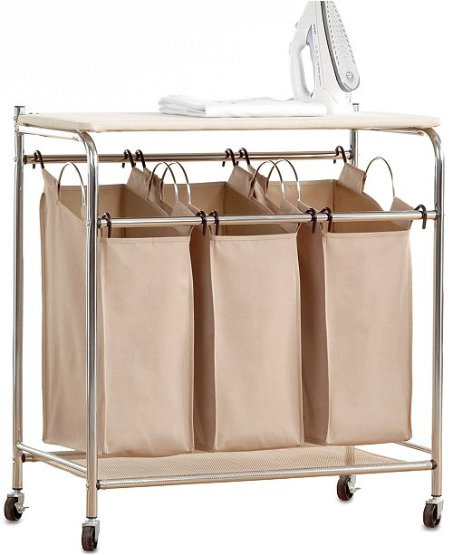 Hampers Everfresh Laundry Triple Sorter With Ironing Board