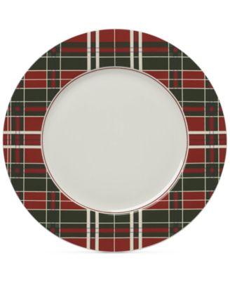 Vintage Plaid Set/4 Dinner Plates
