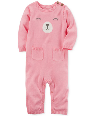 Carter's Bear Cotton Sweater Coverall, Baby Girls