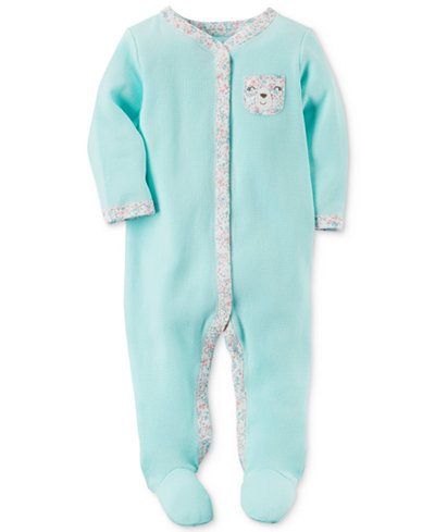 Carter's Baby Girls 1-Pc. Bear-Pocket Thermal Footed Cotton Coveralls