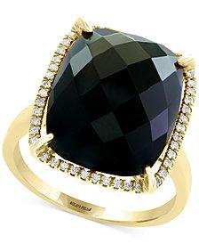 Eclipse by EFFY® Onyx & Diamond (1/8 ct. t.w.) Ring in 14k Gold