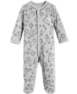 Baby Boys & Girls Milk-Print Footed Cotton Coverall, Created for Macy's