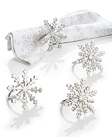 Martha Stewart Collection Snowflake Napkin Rings, Set of 4, Created for Macy's
