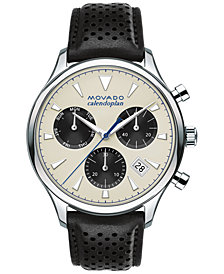 Movado Men's Swiss Chronograph Heritage Series Calendoplan Black Leather Strap Watch 43mm