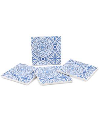 Blue Gilded Opulence 4-Pc. Coaster Set
