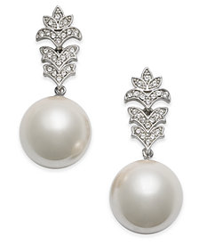 Nina Silver-Tone Crystal & Imitation Pearl Drop Earrings