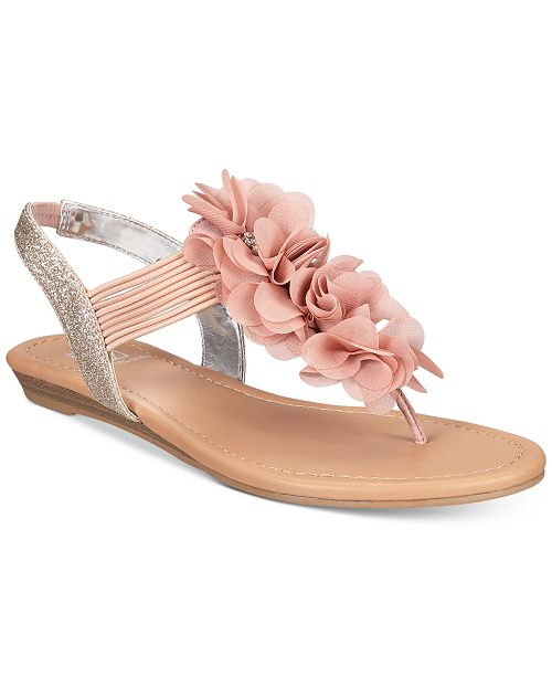 Material Girl Sari Floral Embellished Flat Sandals, Created for Macy's
