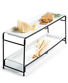 CLOSEOUT! The Cellar Whiteware Serveware Long 2-Tier Server, Created for Macy's
