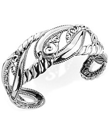 Filigree Openwork Cuff Bracelet in Sterling Silver