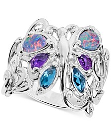 Multi-Gemstone Butterfly Statement Ring (2-1/5 ct. t.w.) in Sterling Silver