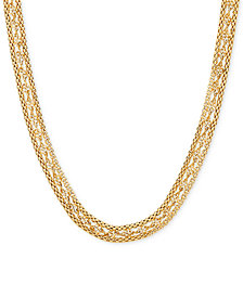 "18"" Twisted Popcorn Link Collar Necklace in 10k Gold"