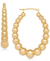 Cubic Zirconia and Polished Bead Oval Hoop Earrings in 14k Gold