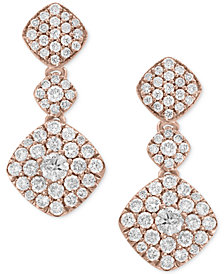 Pavé Rose by EFFY® Diamond Drop Earrings (1-1/4 ct. t.w.) in 14k Rose Gold