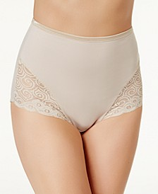 Women's  Firm Tummy-Control Lace Trim Microfiber Brief Underwear 2 Pack X054