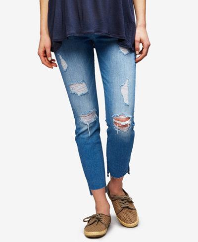 7 For All Mankind Maternity Medium Wash Straight-Leg Jeans