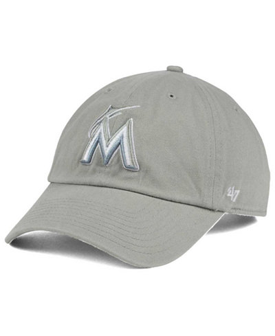 '47 Brand Miami Marlins Gray White CLEAN UP Cap