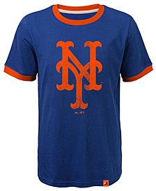 Majestic New York Mets Baseball Stripes Ringer T-Shirt, Big Boys (8-20)