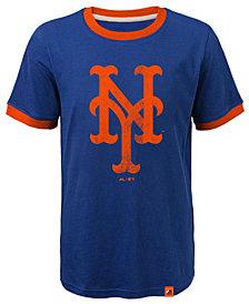 Majestic New York Mets Baseball Stripes Ringer T-Shirt, Big Boys (8-20)