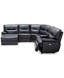Garraway 6-Pc. Leather Sectional Sofa with Chaise, 1 Power Recliner with Power Headrest and Console with USB Power Outlet, Created for Macy's