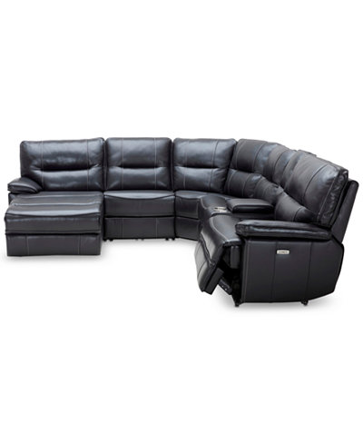Garraway 6 Pc Leather Sectional Sofa With Chaise 1 Power