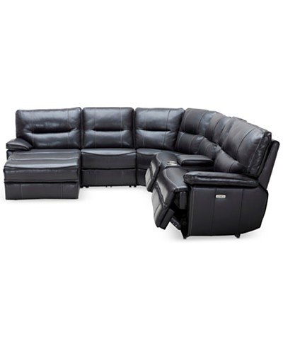 Garraway 6-Pc. Leather Sectional Sofa with Chaise & Console with 2 Power Recliners with Power Headrests, Created for Macy's