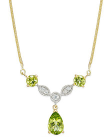 Peridot (2-1/3 ct. t.w.) & Diamond (1/10 ct. t.w.) Statement Necklace in 14k Gold