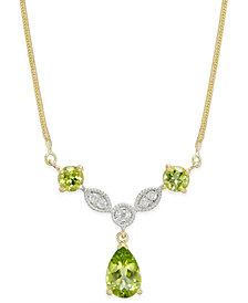 Peridot (2-1/3 ct. t.w.) & Diamond (1/10 ct. t.w.) Statement Necklace in 14k Gold