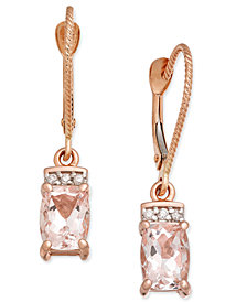Morganite (1-9/10 ct. t.w.) & Diamond Accent Drop Earrings in 14k Rose Gold