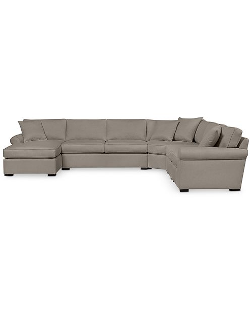 Furniture Astra 6-Pc. Fabric Sectional with Chaise - Custom Colors, Created for Macy's