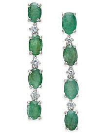 Emerald (4 ct. t.w.) & White Sapphire (1/5 ct. t.w.) Drop Earrings in Sterling Silver, Created for Macy's