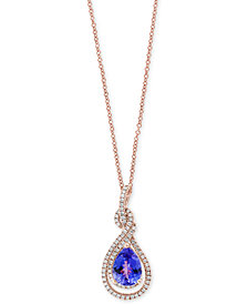 Final Call by EFFY® Tanzanite (1-1/2 ct. t.w.) and Diamond (1/4 ct. t.w.) Pendant Necklace in 14k Rose Gold