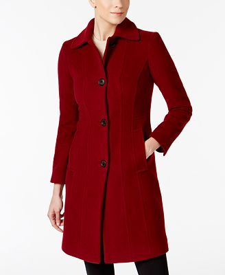 Anne Klein Petite Seamed Walker Wool-Cashmere Blend Coat