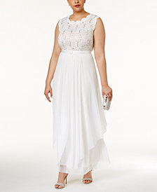 R & M Richards Plus Size Embroidered Lace A-Line Gown