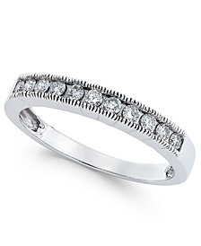 Diamond Milgrain Band (1/4 ct. t.w.) in 14k White Gold