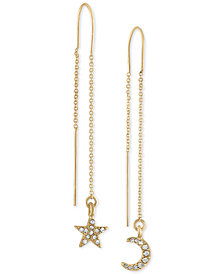RACHEL Rachel Roy Gold-Tone Pavé Star & Moon Threader Earrings