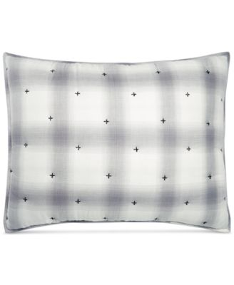 CLOSEOUT! Cotton Reversible Plaid Mist Quilted Standard Sham, Created for Macy's