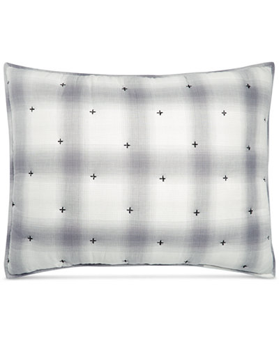 CLOSEOUT! Martha Stewart Collection Cotton Reversible Plaid Mist Quilted Standard Sham, Created for Macy's