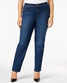 Plus & Petite Plus Size Tummy Control Straight-Leg Jeans, Created for Macy's
