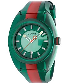 Gucci Unisex Swiss Gucci Sync Green-Red-Green Transparent Rubber Strap Watch 46mm