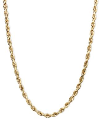 "14k Gold Necklace, 22"" Rope Chain (2-1/2mm)"