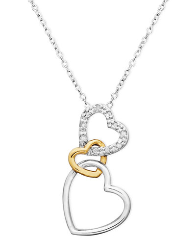 18k gold over sterling silver and sterling silver heart necklace 18k gold over sterling silver and sterling silver heart necklace diamond accent three interlocking heart aloadofball Gallery