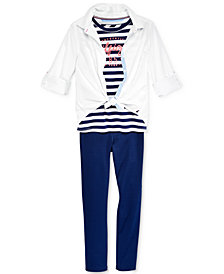 Tommy Hilfiger Big Girls Button-Front Shirt, Striped Glitter T-Shirt & Ponte Pant Separates