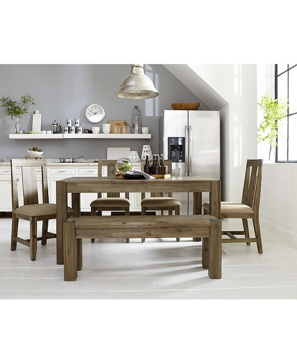 "Furniture Canyon Small 6-Pc.Dining Set, (60"" Dining Table, 4 Side Chairs & Bench), Created for Macy's"