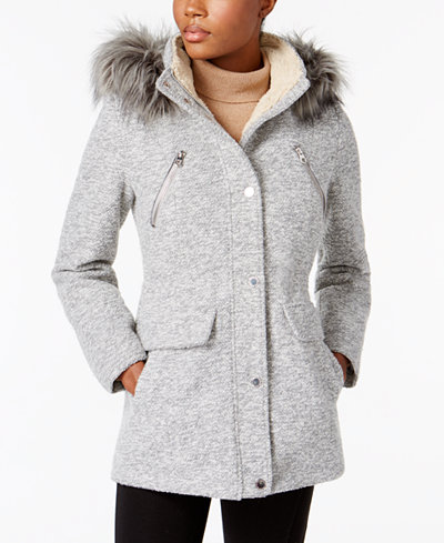 Nautica Faux-Fur-Trim Hooded Coat - Coats - Women - Macy's