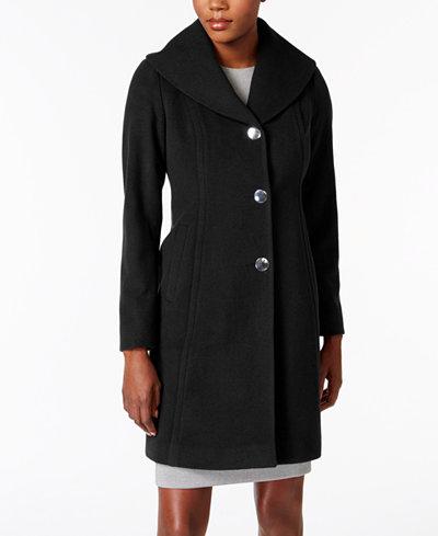 Anne Klein Petite Shawl-Collar Walker Wool-Cashmere Blend Coat