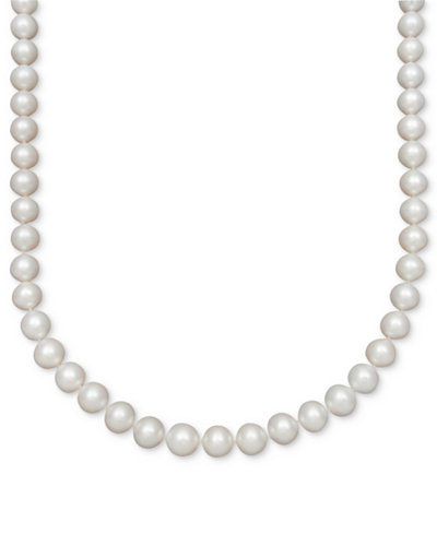 Belle de Mer Pearl Necklace, 14k Gold AAA Cultured Freshwater Pearl Strand (8-1/2-9-1/2mm)