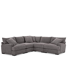 Rhyder 5-Pc. Fabric Sectional Sofa with Armless Chair, Created for Macy's