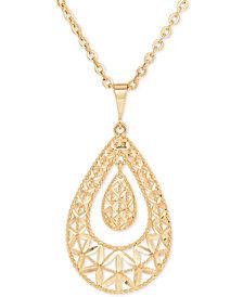 Openwork Orbital Teardrop Pendant Necklace in 10k Gold