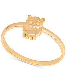 Owl Statement Ring in 14k Gold