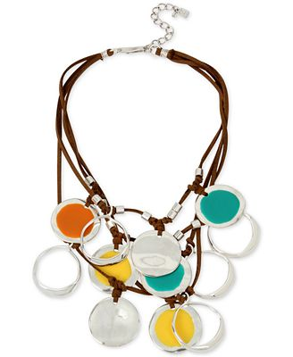 Robert Lee Morris Soho Silver-Tone Leather Multi-Disk Necklace